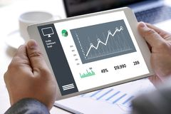 商人销售增量收支份额和顾客Marketin 免版税库存照片