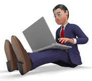 商人键入的手段全球资讯网和商人 图库摄影