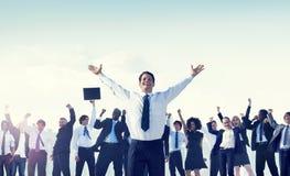 商人队成功庆祝概念 免版税库存图片