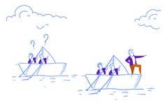商人队游泳纸小船主导的商人配合问号跟随领导概念 库存例证