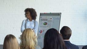 商人队谈话在介绍时谈论报告或不同的Busiensspeople新的战略会议  影视素材