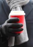 商人饮用的咖啡户外 库存图片