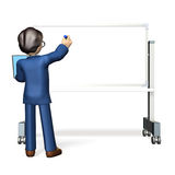 商人,写在whiteboard 免版税图库摄影