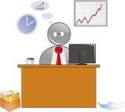 商人,工作者,桌,计算机,工作, 免版税库存图片