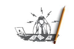 商人,工作,重音,财政报告概念 手拉的被隔绝的传染媒介 库存例证