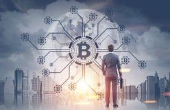 商人,手提箱, bitcoin网络 免版税图库摄影