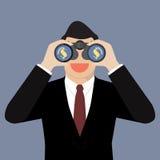 商人寻找金钱的用途双筒望远镜 库存照片