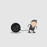 商人以重量债务 乱画传染媒介例证漫画人物摘要概念 库存照片