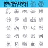 商人ouline传染媒介象 编辑可能的冲程 小组被设置的商人标志 企业队概念变薄 免版税库存照片
