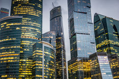 商务中心城市莫斯科摩天大楼 免版税库存图片