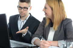 年轻商务伙伴会议  免版税库存图片