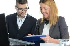 年轻商务伙伴会议  库存图片