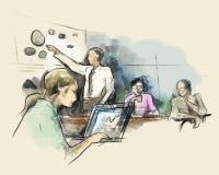 商务伙伴谈论想法在会议上在办公室,当打开膝上型计算机剪影手图画水彩时 库存例证