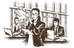 商务伙伴谈论文件和想法在会议上 被刻记的传染媒介 免版税库存照片