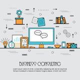 商务咨询概念的平的例证 库存照片