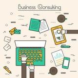 商务咨询的平的样式例证 免版税图库摄影