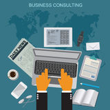商务咨询,平的传染媒介例证, apps,横幅 免版税库存照片