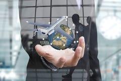 商务旅游保险和保险代理公司与防护 库存图片
