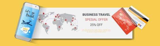 商务旅游特价优待Poster Of Tourism Company模板水平的横幅机构季节性销售飞行物设计 库存例证