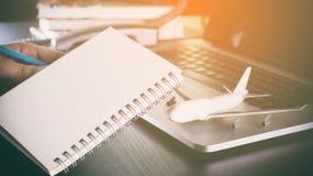 商务旅游的空白的笔记本 免版税图库摄影