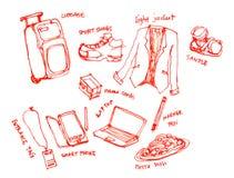 商务旅行成套工具例证 免版税库存图片