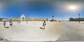 商务正方形在里斯本,葡萄牙- 360个VR 免版税图库摄影