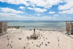 商务正方形- Praca鸟瞰图在里斯本做commercio - 免版税库存图片
