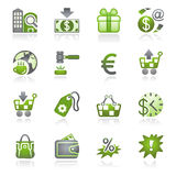 商务灰色绿色图标系列 免版税库存图片