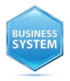 商务系统水晶蓝色六角形按钮 库存例证