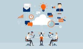 商务联系在网上在云彩技术 库存照片