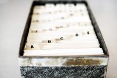 商学院家组织的索引卡片 库存图片