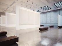 商展内部大模型与白色帆布的和 免版税库存图片