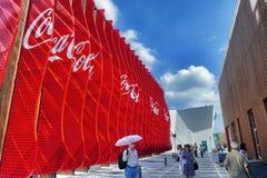 商展的米兰Coca-cola Company亭子2015年 免版税库存图片