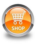 商店光滑的橙色圆的按钮 库存照片