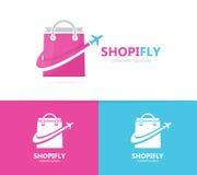 商店和飞机商标组合 销售和旅行标志或者象 独特的袋子和飞行略写法设计模板 免版税库存图片