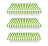 商店的五颜六色的遮篷设置了绿色 向量 库存图片