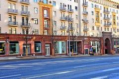 商店的看法Tverskaya购物街道的,莫斯科 库存照片
