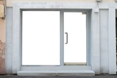 商店精品店与大窗口的商店名字的前面和地方 免版税图库摄影