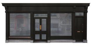 商店门面有在白色背景隔绝的黑木门面的 免版税图库摄影