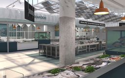 商店鲜鱼和海鲜的内部 3d?? 鱼市的设计项目 免版税图库摄影