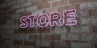 商店-在石制品墙壁上的发光的霓虹灯广告- 3D回报了皇族自由储蓄例证 免版税库存图片
