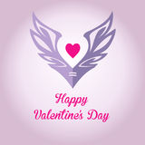 商标、象征与翼和心脏 桃红色树荫 免版税库存照片