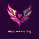 商标、象征与翼和心脏 桃红色树荫 免版税库存图片