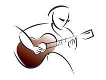 商标吉他训练 免版税库存图片