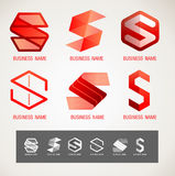 商标和标志设计S概念,现代最小,传染媒介例证 免版税库存图片