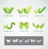 商标和标志设计W概念 免版税库存照片