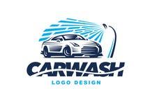 商标在轻的背景的洗车
