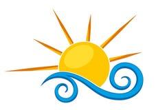 商标太阳和海 库存图片