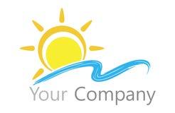 商标太阳和水 库存图片
