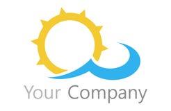 商标太阳和水 免版税库存照片